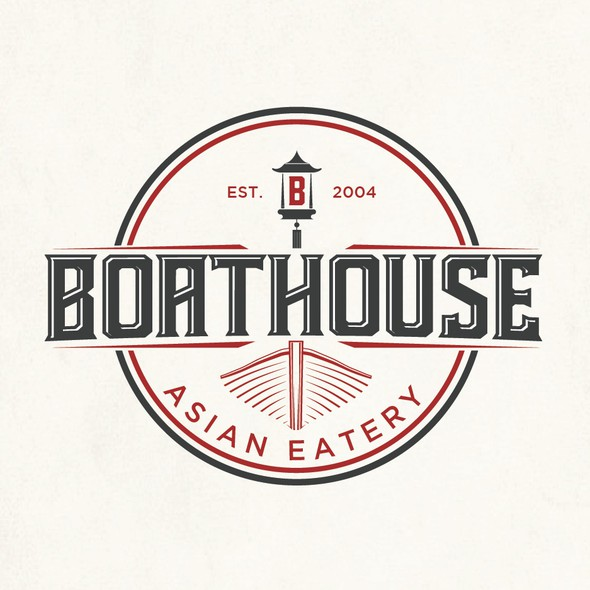 Asian food logo with the title 'Boathouse Asian Eatery'