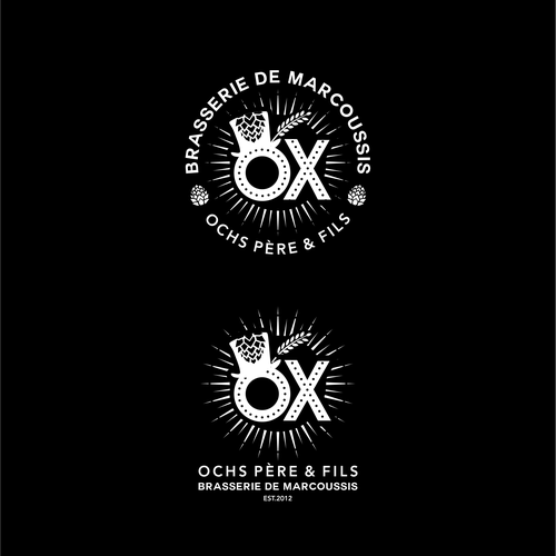 Creative design logo with the title 'Bold logo for OX brewery'