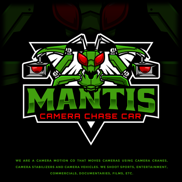 Esports logo with the title 'Mantis Camera Chase Car'