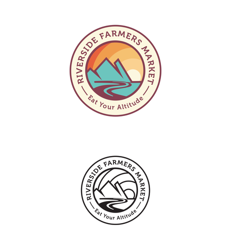 River logo with the title 'Logo design for A Riverside Farmers Market'