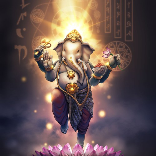 Adobe Photoshop artwork with the title 'Regal, Powerful, Rendition of Lord Ganesha'