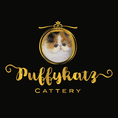 Cute cat logo with the title 'Puffykatz Cattery raises bi-color persian cats'