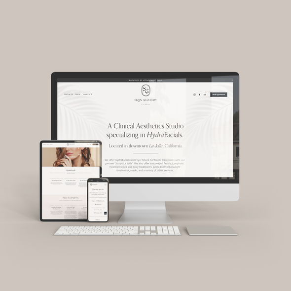 Skin care website with the title 'Squarespace Website for Skyn Alchemy La Jolla'