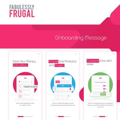 Onboarding design with the title 'Onboarding proposal of e-commerce App'