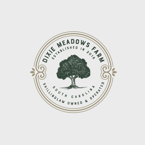 Oak design with the title 'Dixie Meadows Farm Logo'