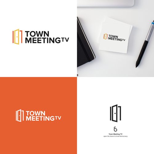 Door design with the title 'Logo design for Town Meeting TV'