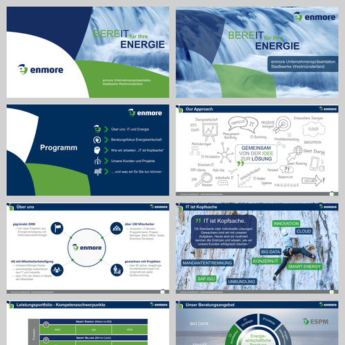 Green and blue design with the title 'PPT for an Energy Consulting Firm'