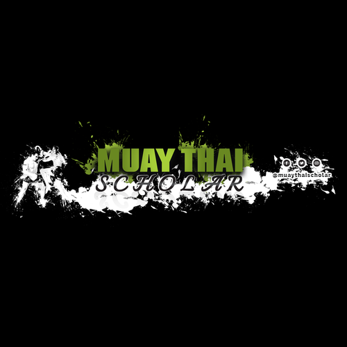 Splatter design with the title 'Youtube cover for muay thai boxing channel'