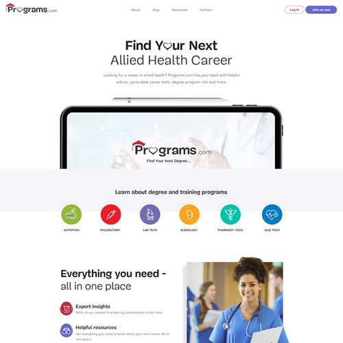 Icon website with the title 'Website Design for New Health Careers Website'