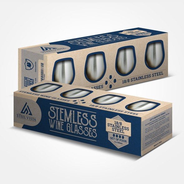Stainless steel design with the title 'Steel Vista Wine Glasses Box'