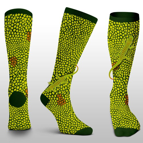 Gecko design with the title 'Travel Socks'