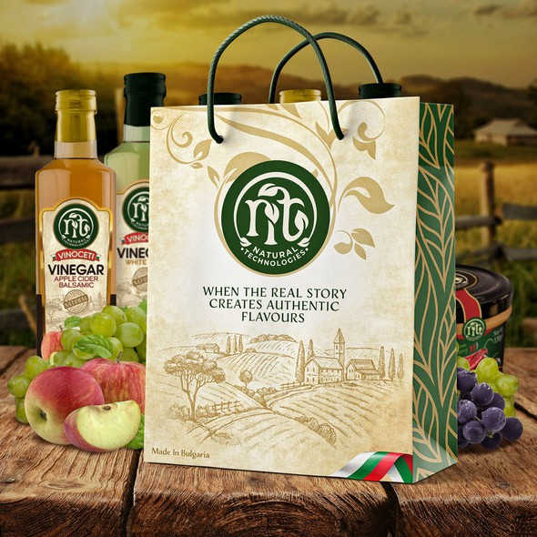 Food packaging with the title 'Paper bag for vinegar & mustard products'