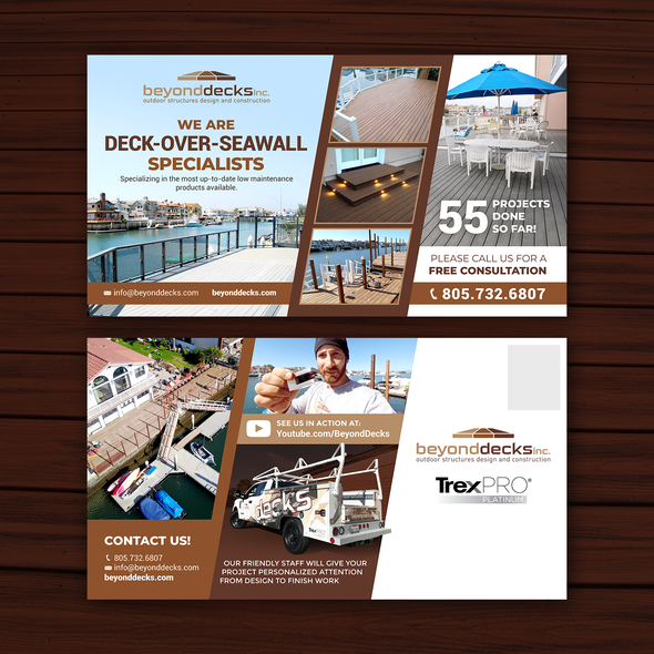 Direct mail design with the title 'Beyond Decks Inc.'
