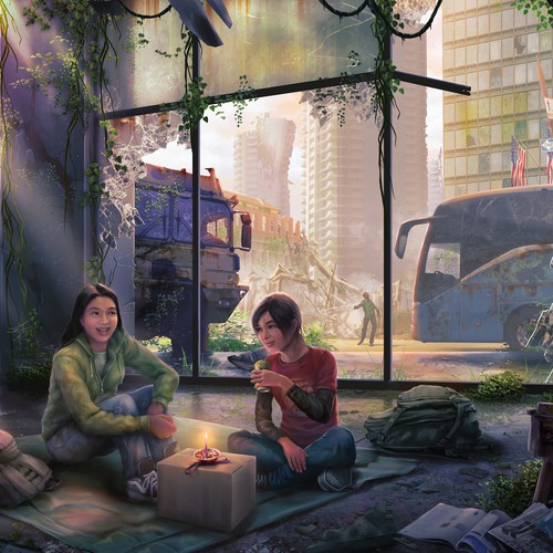 Paint illustration with the title 'Fanart of The Last Of Us #1'