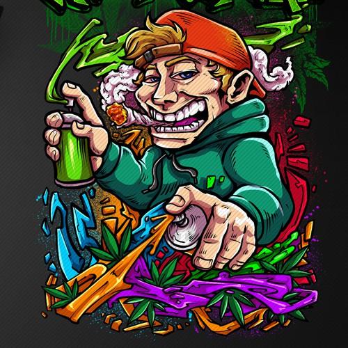 Graffiti t-shirt with the title 'Marijuana Graffiti Design For SALE!'