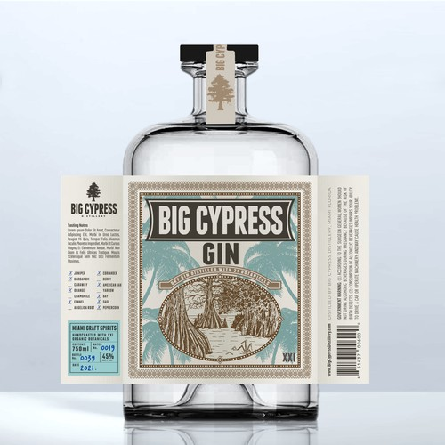 Miami design with the title 'BIG CYPRESS GIN'