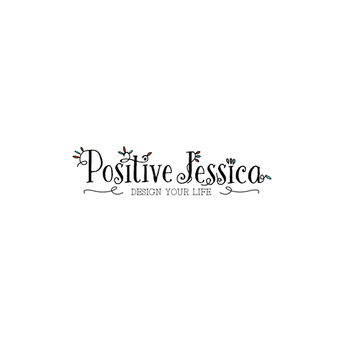 Colorful brand with the title 'Logo Design for a blog - POSITIVE JESSICA'