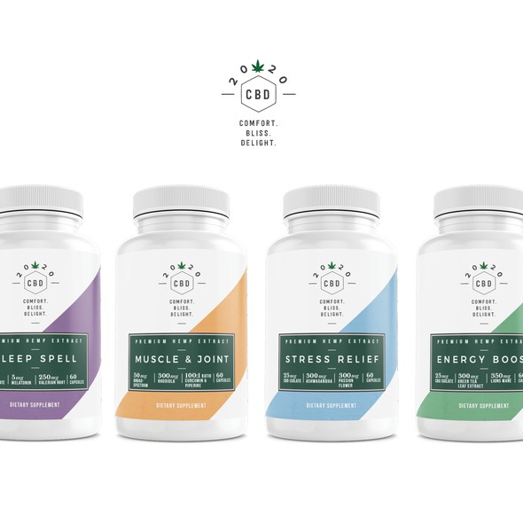 Energy label with the title 'Holistic Hindsight CBD Packaging'