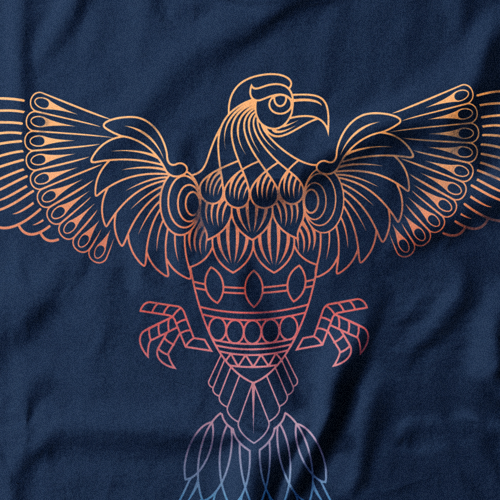 T-shirt with the title 'Vintage lineart design for clothig company'