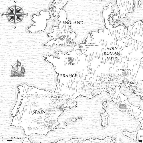 European design with the title 'Historical Map for Novel'
