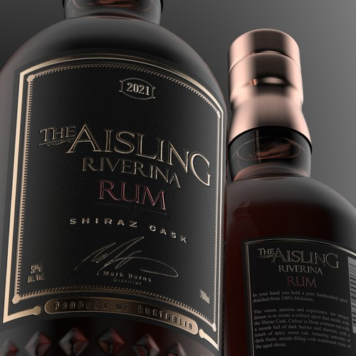 Embossed design with the title 'The Aisling Rum'