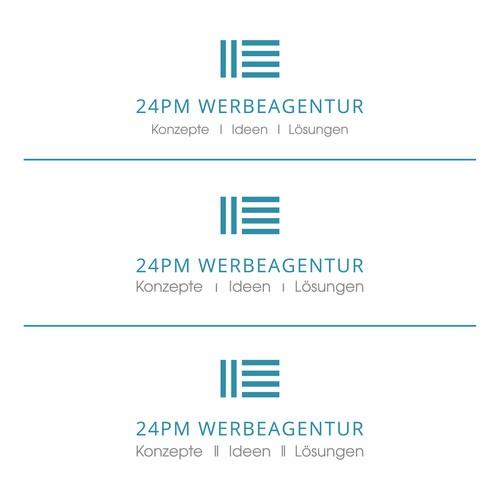 Paintbrush design with the title '24 PM Werbeagentur'