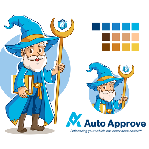 Wizard design with the title 'Auto Approve Logo Mascot'