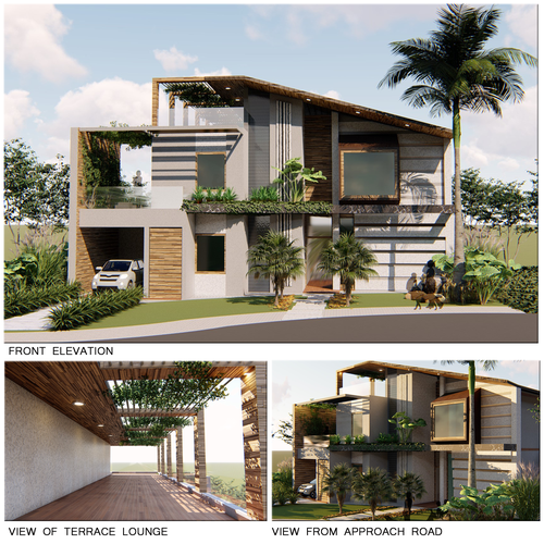 Facade design with the title 'THE BEACH HOUSE'