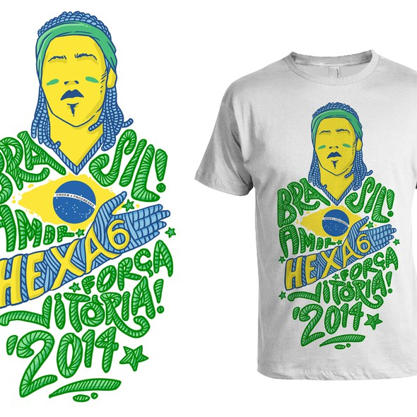 Soccer t-shirt with the title '99designs Community Contest: Create The OficialBrazilian Fan T-Shirt'