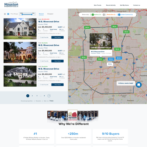 Home website with the title 'Houston Properties dashboard search'