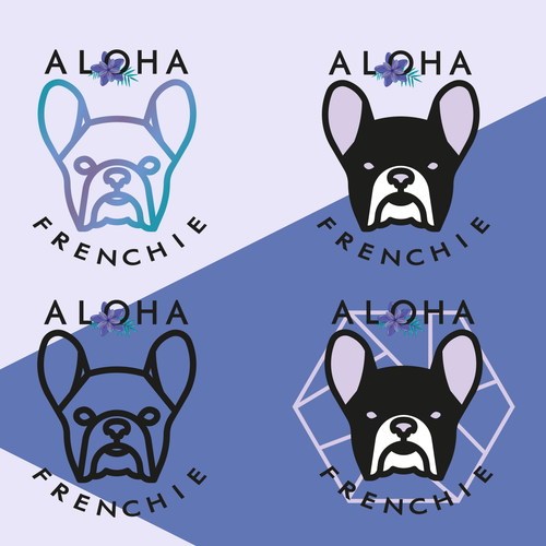 French bulldog logo with the title 'Aloha Frenchie'