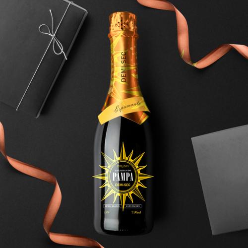Champagne label with the title 'Design de Embalagem / Packaging Design'