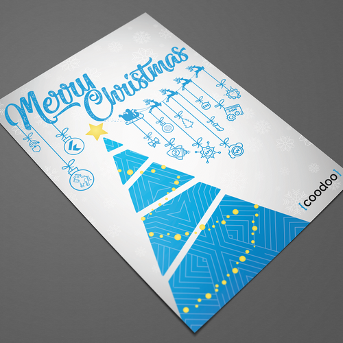Christmas tree design with the title 'Coodoo Christmas Card'