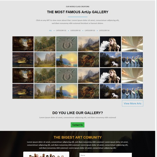 JQuery website with the title 'Art Gallery'