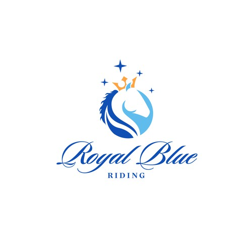 Horse head logo with the title 'Logo for Royal Blue Riding Facility'