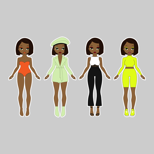 African illustration with the title 'Paper doll design'