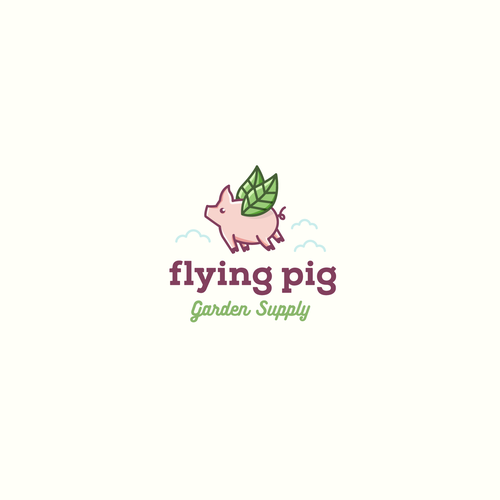 Minimalist logo with the title 'Flying Pig Garden Supply'