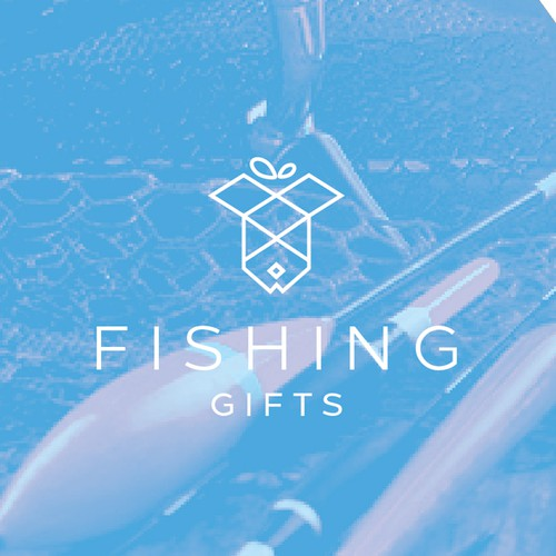 Fish logo with the title 'Clean and Clever Logo Design for Fishing Gifts'