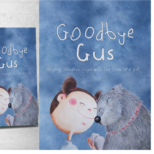 """Book illustration with the title '""""Goodbye Gus"""" cover design'"""