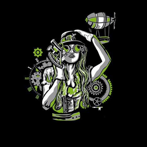 Steampunk t-shirt with the title 'Inventors brewpub T-shirt design'