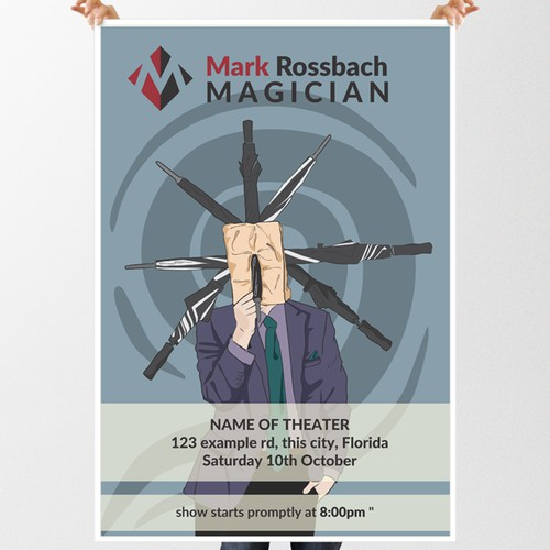 Umbrella design with the title 'Poster Design for Modern Magician'