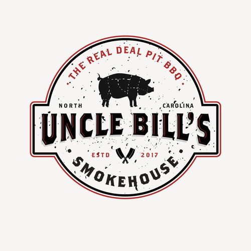 Ribs logo with the title 'Uncle Bill's Smokehouse logo'