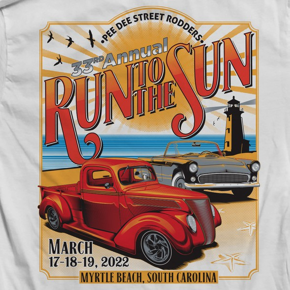 Red t-shirt with the title 'Run to the Sun 2022'