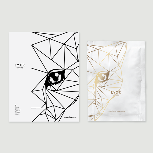 Black and white packaging with the title 'LYXR Packaging'