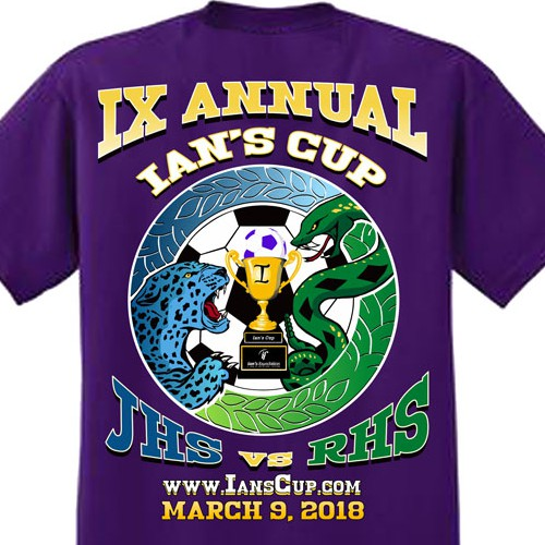 Scholarship design with the title 'Design for 9th Ian's Cup T-shirt'