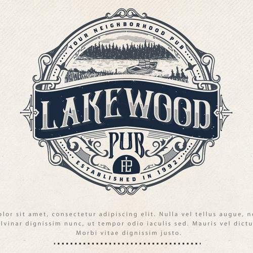 Badge logo with the title 'LOGO DESIGN FOR LAKEWOOD PUB'