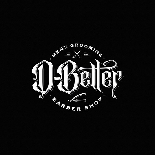 Barber design with the title 'D-Better Barbershop'
