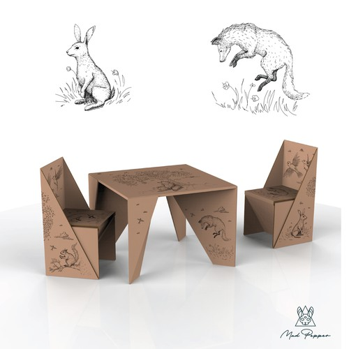 Hand-drawn illustration with the title 'Animal illustrations for Children's cardboard Table and Chairs set'
