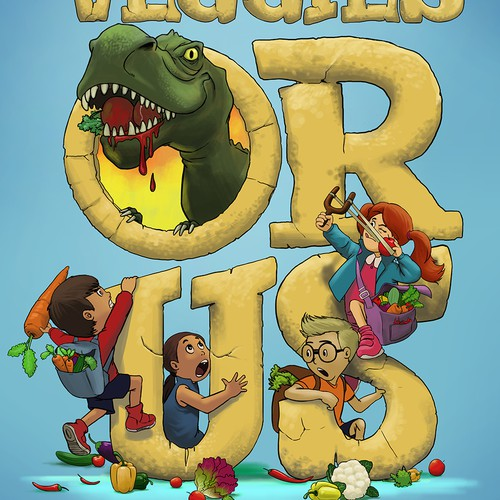 Board game illustration with the title 'Veggies or Us !!'
