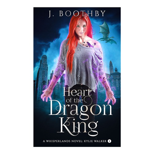 Urban fantasy book cover with the title 'Heart of the Dragon King Book Cover.'
